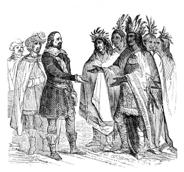 1621 Photograph - Massasoit Forges Treaty With Pilgrims by British Library