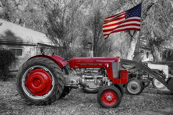 Photograph - Massey -  Feaguson 65 Tractor With Usa Flag Bwsc by James BO Insogna