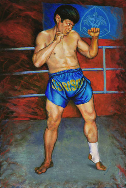 Thai Boxing Painting - Master Chai by Mike Walrath