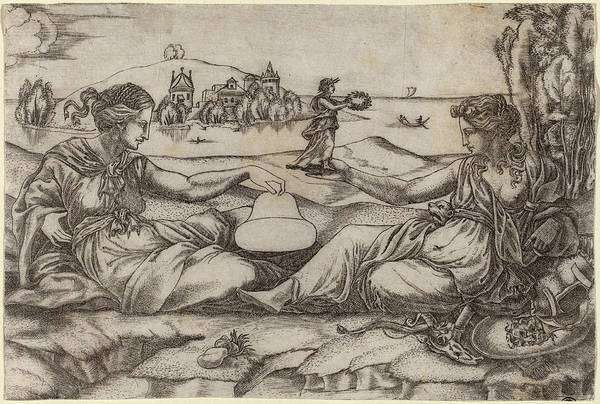 Allegorical Figure Drawing - Master Irs Italian, Active First Half 16th Century by Quint Lox