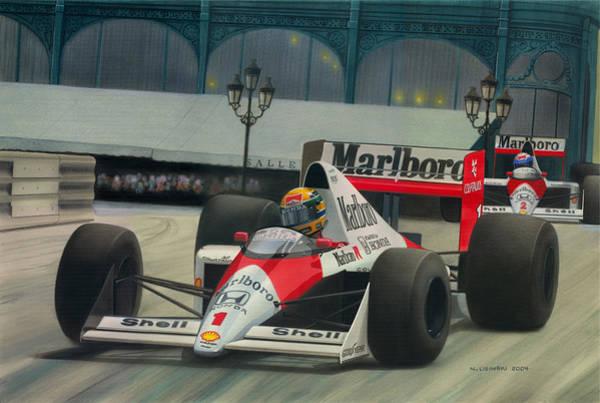Ayrton Senna Wall Art - Painting - Master Of Monaco by Norb Lisinski