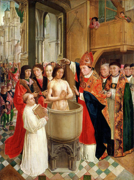 Clovis Painting - Master Of Saint Giles, The Baptism Of Clovis by Litz Collection