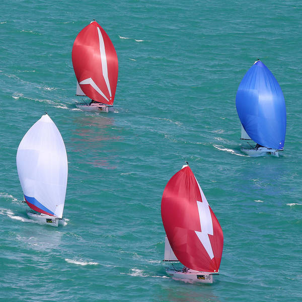 Racing Yacht Photograph - Matched Pairs J70s by Steven Lapkin