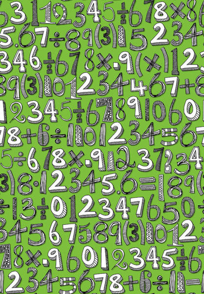 Mathematics Drawing - Math Doodle Green by MGL Meiklejohn Graphics Licensing