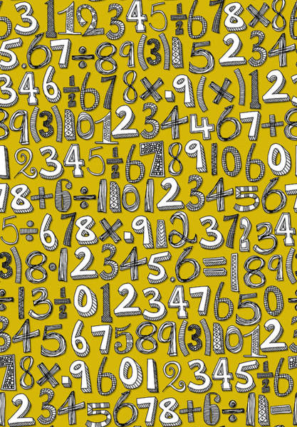 Mathematics Drawing - Math Doodle Yellow by MGL Meiklejohn Graphics Licensing