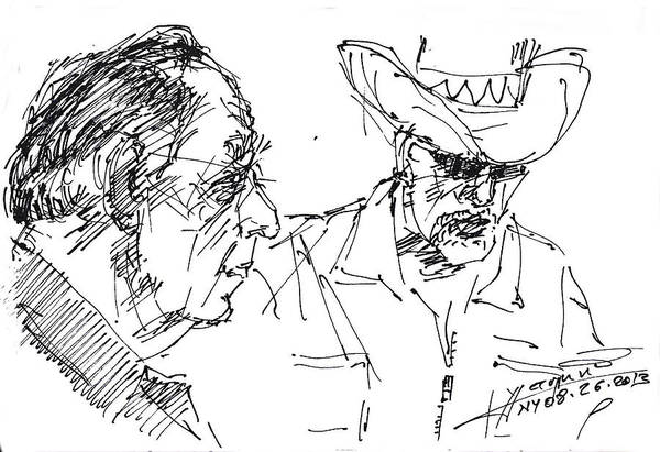 Wall Art - Drawing - Math Teacher And The Magician by Ylli Haruni