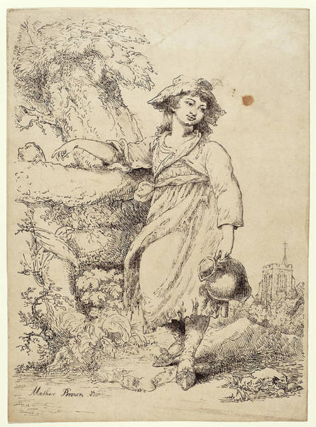 Pitchers Drawing - Mather Brown, Girl With A Pitcher, American by Quint Lox