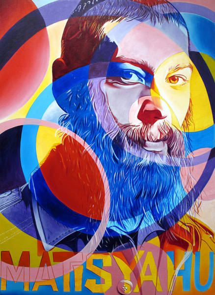 Jewish Music Wall Art - Painting - Matisyahu In Circles by Joshua Morton