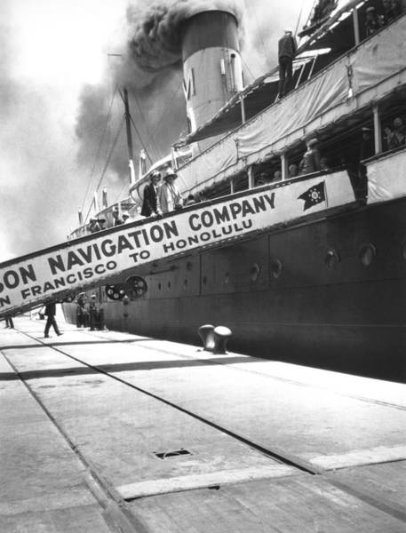 Steam Boat Photograph - Matson Liner Departure by Underwood Archives