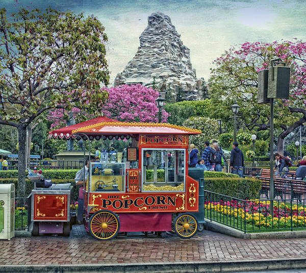 Wall Art - Photograph - Matterhorn Mountain With Hot Popcorn At Disneyland Textured Sky by Thomas Woolworth