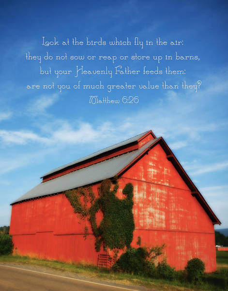 Photograph - Matthew 6 26 Scripture Red Barn by Denise Beverly