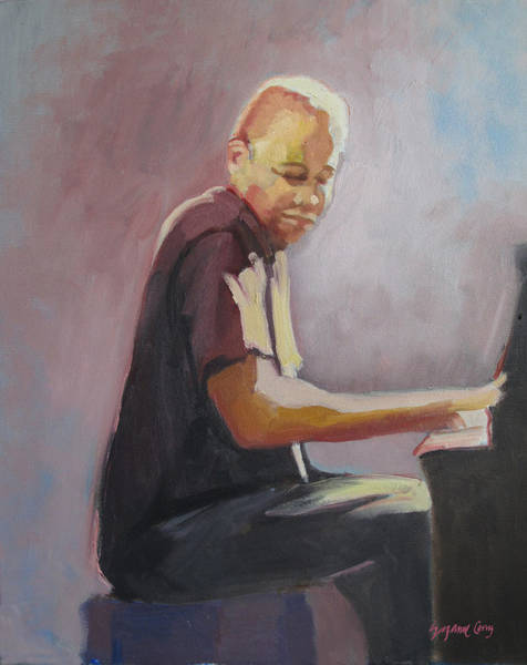 Painting - Matthew Shipp New York Pianist by Suzanne Cerny
