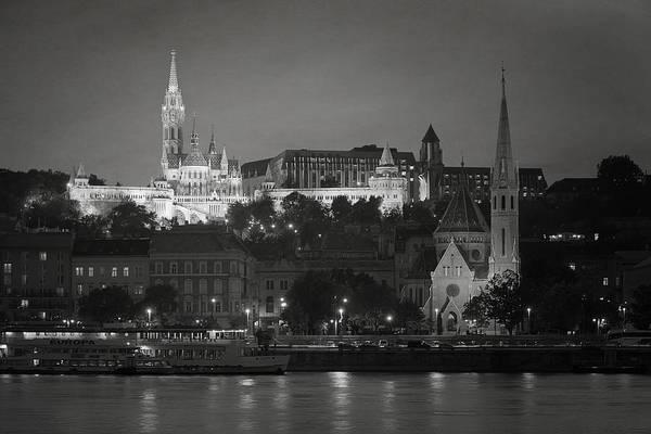 Photograph - Matthias Church Night Bw by Joan Carroll