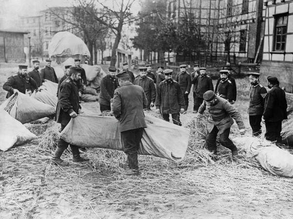 Photograph - Mattresses For Trenches by Underwood Archives