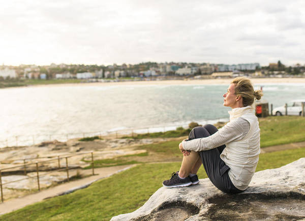 Mature Woman Enjoying The Ocean View Sydney Australia Art Print by OwenPrice