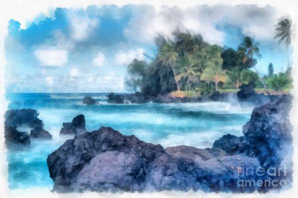 Photograph - Maui Hawaii Watercolor by Edward Fielding