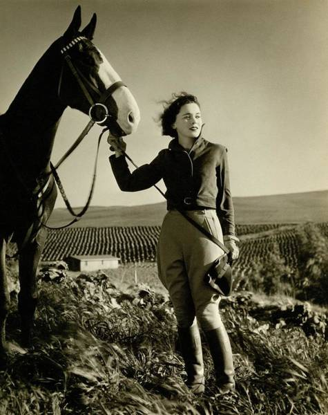Irish Photograph - Maureen O'sullivan Standing On A Hill by George Hurrell