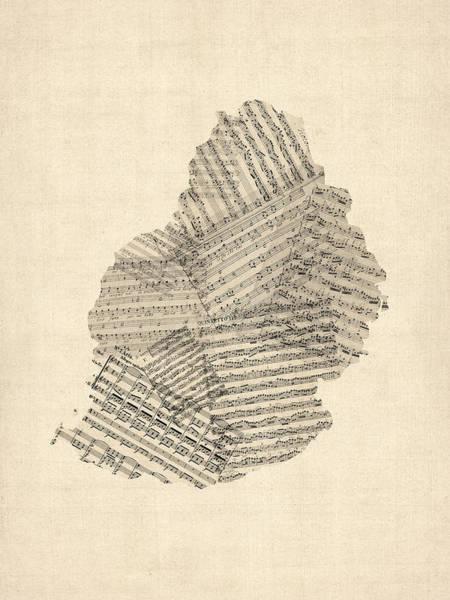 Digital Art - Mauritius Old Sheet Music Map by Michael Tompsett