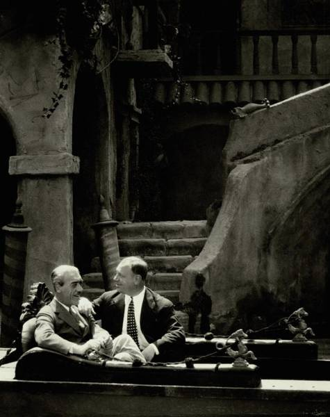 Male Photograph - Mauritz Stiller And Emil Jannings On A Gondola by Arnold Genthe