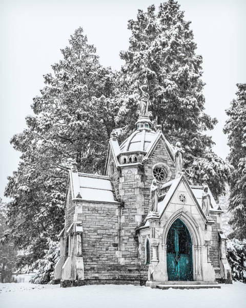 Photograph - Mausoleum In The Snow  by Keith Allen