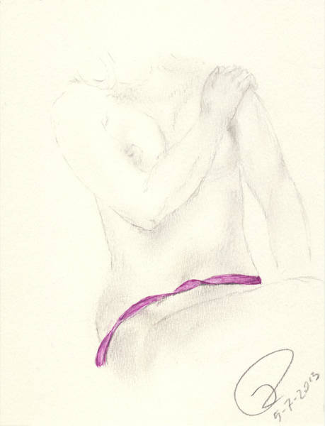 Nipples Drawing - Mauve Ribbon by Paolo Marini