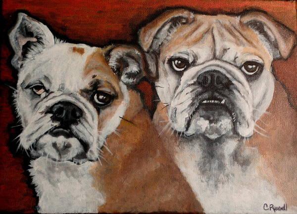 English Bulldog Painting - Max And Sammy by Carol Russell