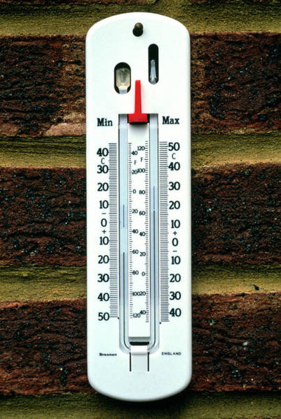 Thermometer Wall Art - Photograph - Maximum And Minimum Thermometer by Jerry Mason/science Photo Library