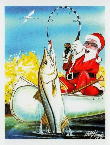 Steve Harris Wall Art - Painting - May All Your Holiday Fishes Come True by Steve Harris