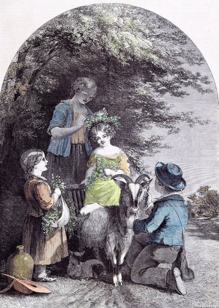 Soothing Drawing - May G.w. Willis Children Goat Pastoral Spring by English School