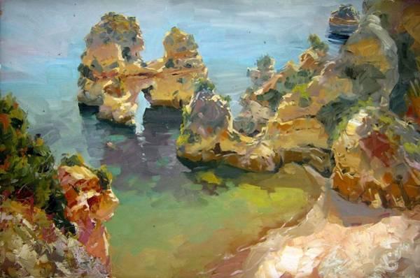 Lagos Painting - Portugal Algarve Lagos Praia Camelo by Volodymyr Klemazov