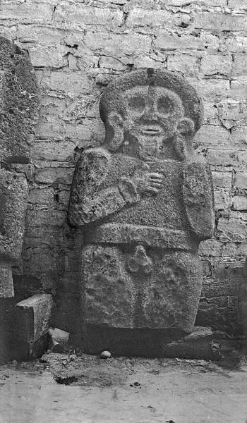 Stone Carving Photograph - Mayan Carved Statue by American Philosophical Society