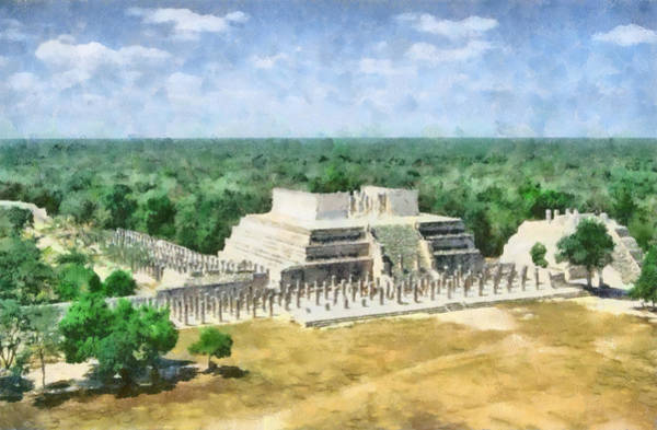 Chichen Digital Art - Mayan Temple by Roy Pedersen