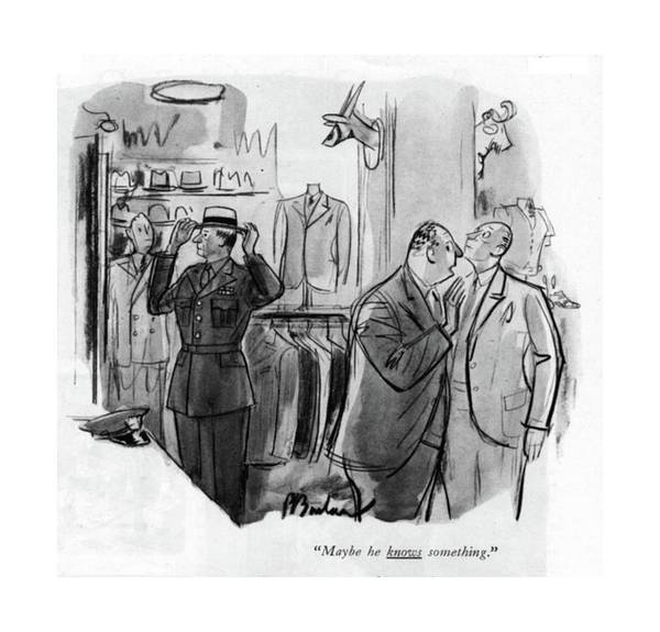 Retail Drawing - Maybe He Knows Something by Perry Barlow