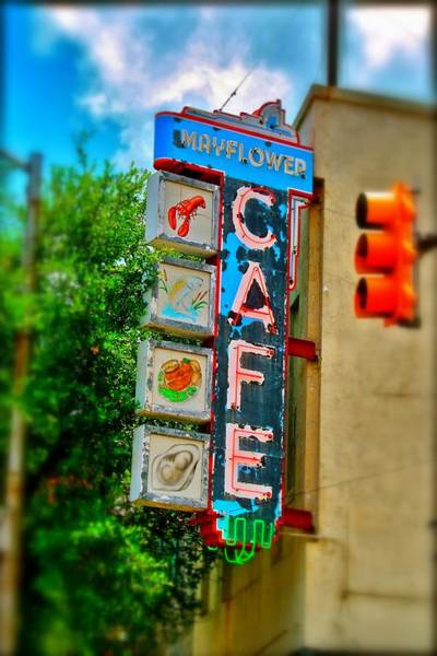 Photograph - Mayflower Cafe Sign by Jim Albritton