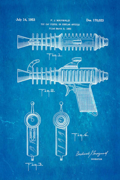Toy Gun Photograph - Maywald Toy Cap Gun Patent Art 1953 Blueprint by Ian Monk