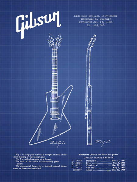 Bass Guitar Digital Art - Mccarty Gibson Electrical Guitar Patent From 1958 - Blueprint by Aged Pixel