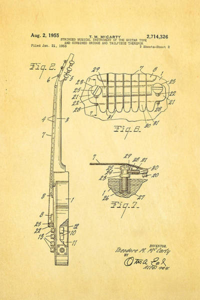 Wall Art - Photograph - Mccarty Gibson Les Paul Guitar 2 Patent Art 1955 by Ian Monk