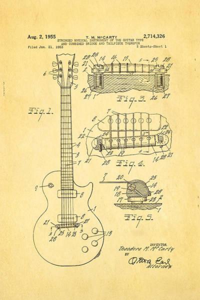 Wall Art - Photograph - Mccarty Gibson Les Paul Guitar Patent Art 1955 by Ian Monk