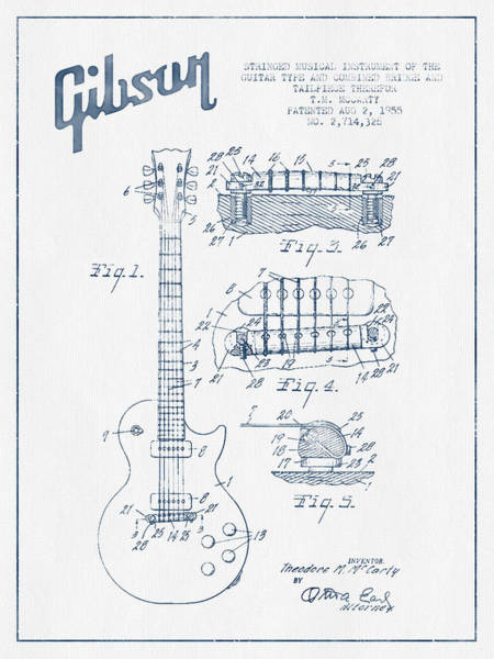 Electric Guitar Wall Art - Digital Art - Mccarty Gibson Les Paul Guitar Patent Drawing From 1955 - Blue I by Aged Pixel