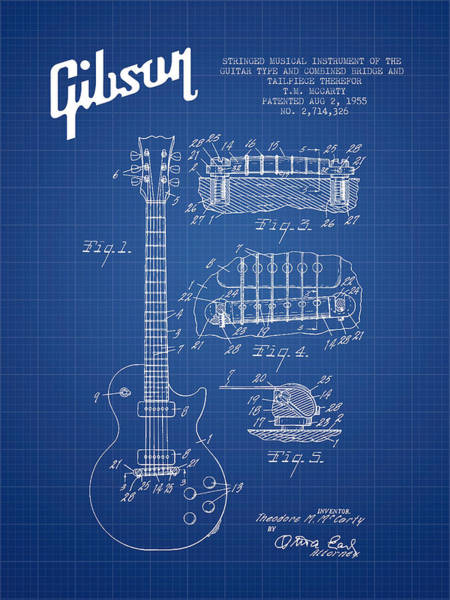 Bass Guitar Digital Art - Mccarty Gibson Les Paul Guitar Patent Drawing From 1955 - Bluepr by Aged Pixel