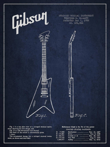 Bass Guitar Digital Art - Mccarty Gibson Stringed Instrument Patent Drawing From 1958 - Navy Blue by Aged Pixel