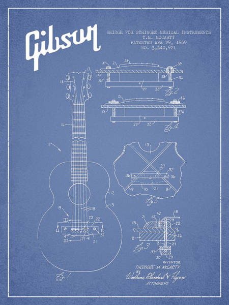 Wall Art - Digital Art - Mccarty Gibson Stringed Instrument Patent Drawing From 1969 - Light Blue by Aged Pixel