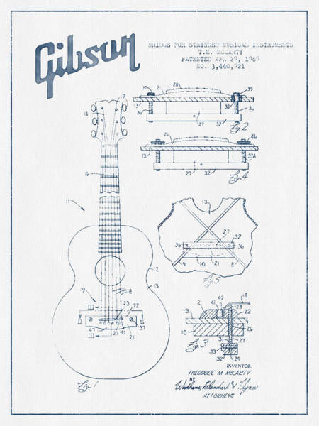 Acoustic Bass Wall Art - Digital Art - Mccarty Gibson Stringed Instrument Patent Drawing From 1969 - Bl by Aged Pixel