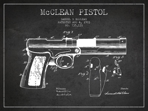 Weapons Digital Art - Mcclean Pistol Drawing From 1903 - Dark by Aged Pixel