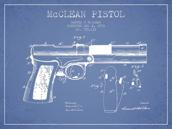 Weapons Digital Art - Mcclean Pistol Drawing From 1903 - Light Blue by Aged Pixel