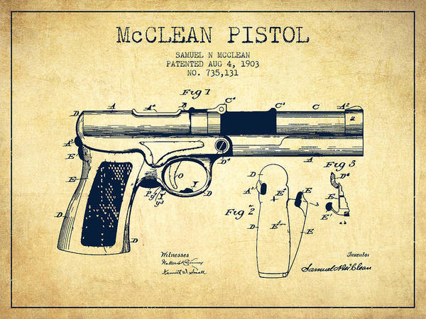 Shooting Digital Art - Mcclean Pistol Drawing From 1903 - Vintage by Aged Pixel
