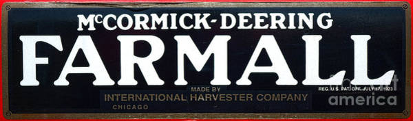 Manufacturers Photograph - Mccormick Deering Farmall  by Olivier Le Queinec