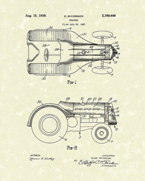 Wall Art - Drawing - Mccormick Tractor 1939 Patent Art by Prior Art Design