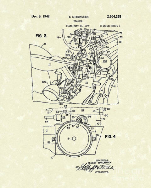 Wall Art - Drawing - Mccormick Tractor 1942 Patent Art by Prior Art Design