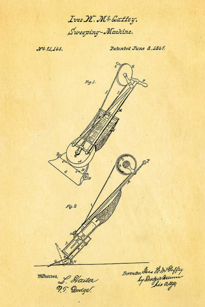 Dressmaker Wall Art - Photograph - Mcgaffey Vacuum Cleaner Patent Art 1869 by Ian Monk
